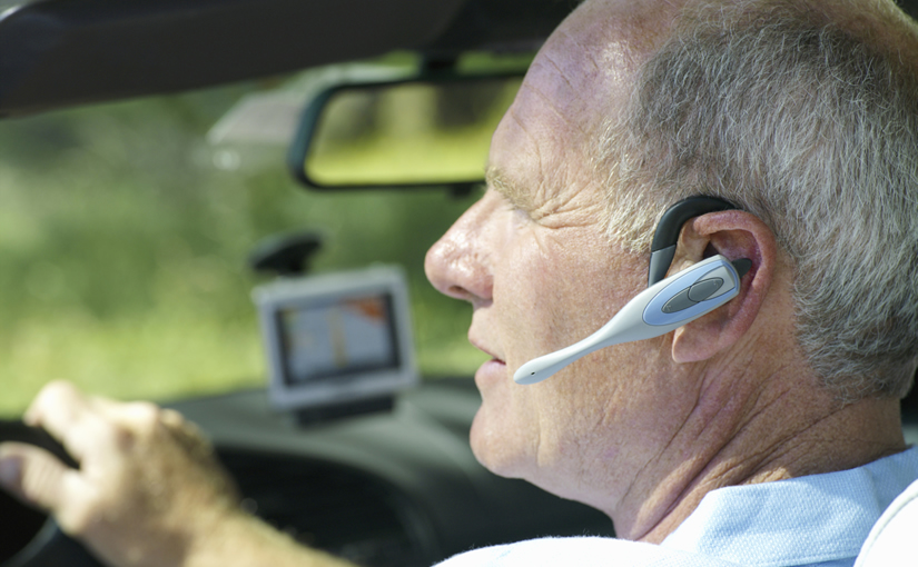 Using a handsfree device in a car